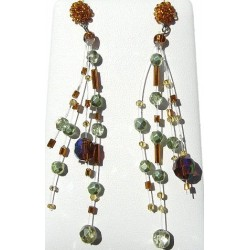 Illusion Brown Bead Floating Four Strand Dropper Earrings