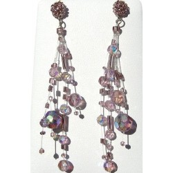 Handcrafted Beaded Costume Jewellery, Fashion Women Gift, Illusion Purple Bead Floating Four Strand Dropper Earrings