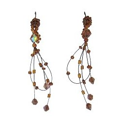 Unique Beaded Costume Jewellery, Handcrafted Women Girls Party Gift, Brown Bead Illusion Loop Floating Drop Earrings