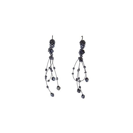Unique Beaded Costume Jewellery, Handcrafted Women Girls Party Gift, Dark Grey Bead Illusion Loop Floating Drop Earrings