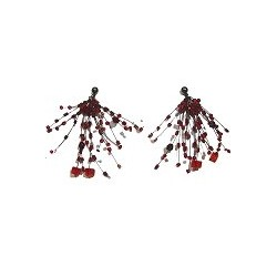 Handcrafted Beaded Costume Jewellery, Fashion Women Handmade Gift, Red Floating Bead Cluster Multi Strand Cascade Earrings