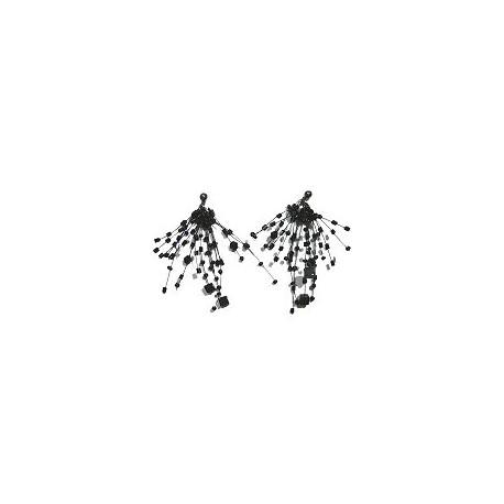 Handcrafted Beaded Costume Jewellery, Fashion Women Handmade Gift, Black Floating Bead Cluster Multi Strand Cascade Earrings