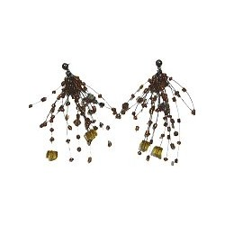 Unique Beaded Costume Jewellery, Handcrafted Women Girls Party Gift, Brown Floating Bead Cluster Multi Strand Cascade Earrings