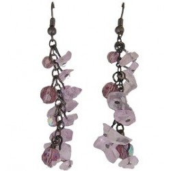 Unique Beaded Costume Jewellery, Handcrafted Women Girls Gift, Flourite Tumblechip Purple Bead Dangling Earrings