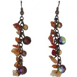 Classic Unique Beaded Costume Jewellery, Handcrafted Women Girls Gift, Carnelian Tumblechip Brown Bead Dangling Earrings