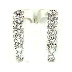 Dressy Costume Jewellery, Fashion Women Wedding Party Dress Accessories, Clear Diamante Twin Row Linear Drop Earrings
