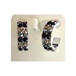 Black Diamante Three Quarter Circular Hoop Earrings