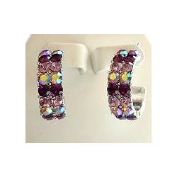 Purple Diamante Three Quarter Circular Hoop Earrings