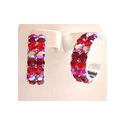 Red Diamante Three Quarter Circular Hoop Earrings