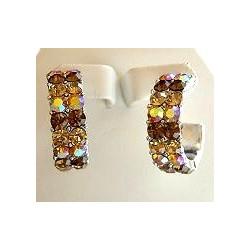 Brown Diamante Three Quarter Circular Hoop Earrings