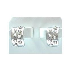 Clear Diamante Silver Semi Hoop Earrings