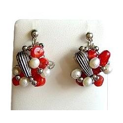 Red Coral Twist Earrings