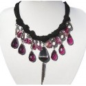 Purple Teardrop Bead Bold Statement Cascade Rope Necklace