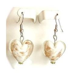 Fashion Women Girls Beaded Costume Jewellery Accessories, White Venetian Glass Heart Bead Drop Earrings