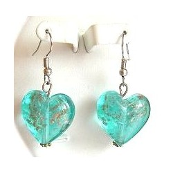 Fashion Women Girls Beaded Costume Jewellery Accessories, Blue Venetian Glass Heart Bead Drop Earrings