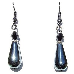 Natural Stone Costume Jewellery Accessoies, Fashion Women Girls Small Little Gift, Teardrop Haematite Dangle Earrings