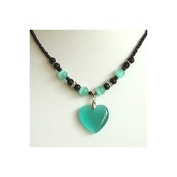 Natural Stone Costume Jewellery Accessoies, Fashion Women Girls Gift, Aqua Cats Eye Stone Heart Black Beaded Necklace