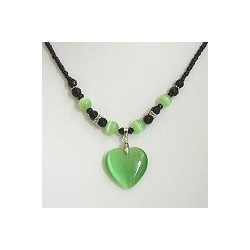 Natural Stone Costume Jewellery Accessoies, Fashion Women Girls Gift, Green Cats Eye Stone Heart Black Beaded Necklace
