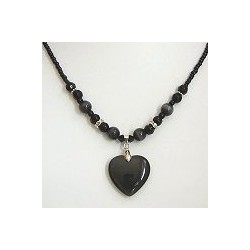 Natural Stone Costume Jewellery Accessoies, Fashion Women Girls Gift, lack Cats Eye Stone Heart Black Beaded Necklace