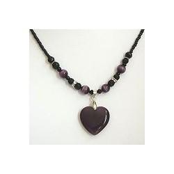 Natural Stone Costume Jewellery Accessoies, Fashion Women Girls Gift, Purple Cats Eye Stone Heart Black Beaded Necklace