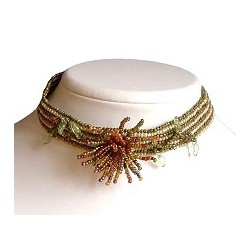 Brass green & Brown Tassel Flower Bead Weaving Choker
