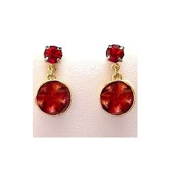 Dressy Costume Jewellery Accessoies, Fashion Women Dainty Small Gift, Red & Burgundy Enamel Circle Short Drop Earrings