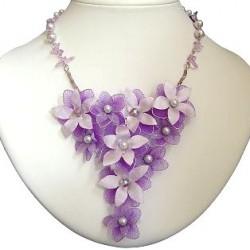 Purple & Lilac Silk Flower Chandelier Statement Necklace