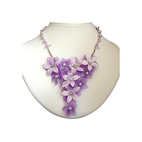 Bridal Costume Jewllery, Bridesmaid Wedding Party Dress Accessories, Purple & Lilac Silk Flower Chandelier Statement Necklace