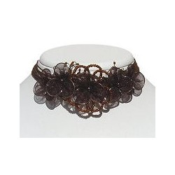 Brown Bead Silk Flower Statement Multi-Strand Cord Choker