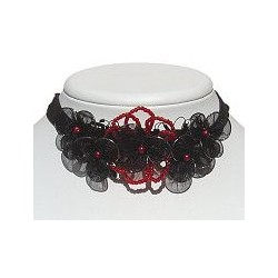 Red & Black Bead Silk Flower Statement Multi-Strand Cord Choker