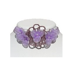 Purple & Lilac Bead Silk Flower Statement Multi-Strand Cord Choker
