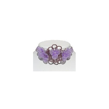 Bridal Costume Jewllery Necklace, Bridesmaid Wedding Party Dress Accessories, Purple & Lilac Bead Silk Flower Statement Choker