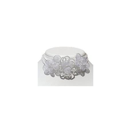 Bridal Costume Jewllery Necklace, Bridesmaid Wedding Party Dress Accessories, White Bead Silk Flower Statement Cord Choker