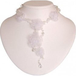 White Silk Flower Bead Long Drop Choker