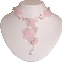 Pink Silk Flower Bead Long Drop Choker