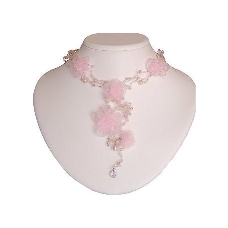 Bridal Costume Jewllery Necklace, Bridesmaid Wedding Party Dress Accessories, Pink Silk Flower Bead Long Drop Choker