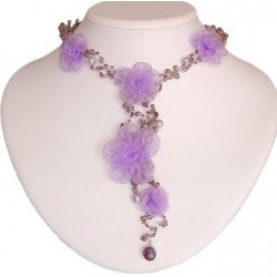 Purple Lilac Silk Flower Bead Long Drop Choker