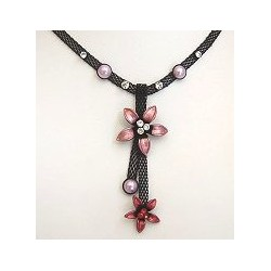 Chic Costume Jewellery Accessoies, Women Girls Cute Small Gift, Pink & Red Two Flower Black Mesh Fashion Drop Necklace