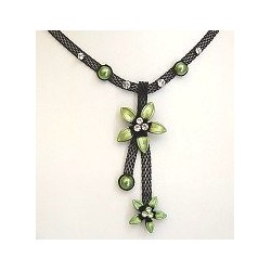 Chic Costume Jewellery Accessoies, Women Girls Cute Small Gift, Green Two Flower Black Mesh Fashion Drop Necklace