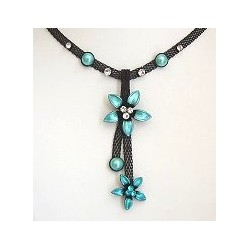 Chic Costume Jewellery Accessoies, Women Girls Cute Small Gift, Blue Two Flower Black Mesh Fashion Drop Necklace