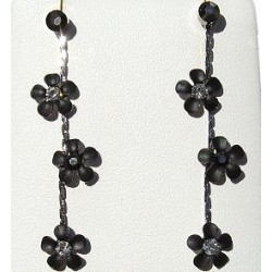 Simple Costume Jewellery Accessories, Fashion Women Girls Small Gift, Black Enamel Daisy Flower Drop Earrings