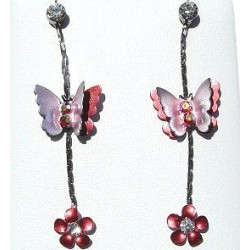Simple Costume Jewellery Accessories, Fashion Women Girls Small Gift, Red Enamel Butterfly Flower Clear Diamante Drop Earrings