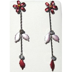 Simple Costume Jewellery Accessories, Fashion Women Girls Cute Small Gift, Red Enamel Flower Leaf Drop Earrings