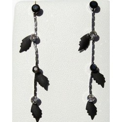 Simple Costume Jewellery Accessories, Fashion Women Girls Small Gift, Black Enamel Leaf Dangle Earrings