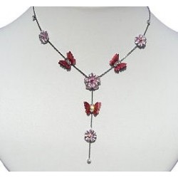 Simple Costume Jewellery Accessories, Fashion Women Girls Cute Small Gift, Red Enamel Butterfly Pink Flower Drop Necklace