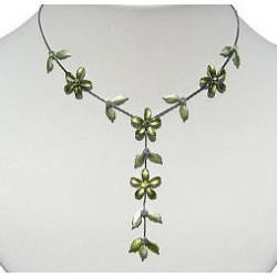 Simple Costume Jewellery Accessories, Fashion Women Girls Cute Small Gift, Green Enamel Flower Leaf Drop Necklace