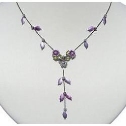 Simple Costume Jewellery Accessories, Fashion Women Girls Cute Small Gift, Purple Enamel Daisy Flower Leaf Drop Necklace