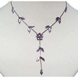 Simple Costume Jewellery Accessories, Fashion Women Girls Cute Small Gift, Purple Enamel Flower Leaf Drop Necklace