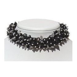 Silk Fabric Mixed Black & White Bead Collar Choker