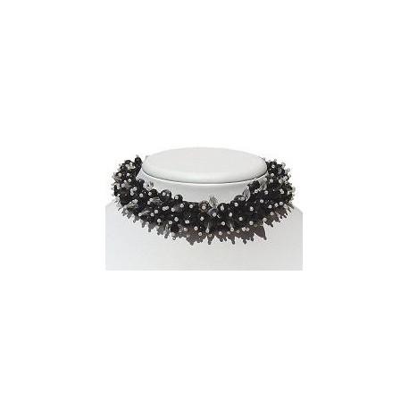 Hip Hop Costume Jewellery Accessoies, Fashion Women Girls Gift, Silk Fabric Mixed Black & White Bead Collar Choker Necklace